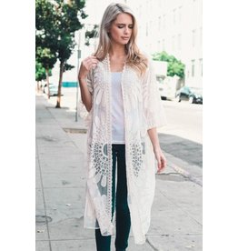 Leto Accessories Kimono-Boho Lace Embroidered