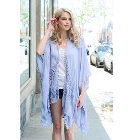 Leto Accessories Kimono-Lace & Mesh Trim