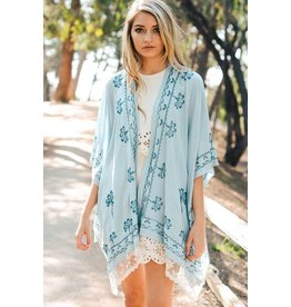 Leto Accessories Kimono-Lace Scallop Trim