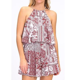 Nadia Collection Romper-Halter Neck, Floral & Pattern Print