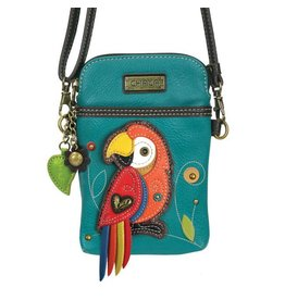 Chala Bags Crossbody-Cell Phone Bag-Red Parrot