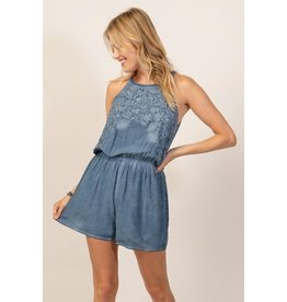 Andree by Unit Romper-High Neck w/Embroidery, Wash Dye