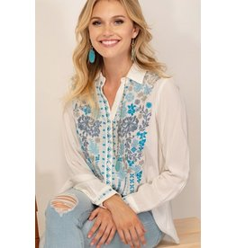 Andree by Unit Shirt-Button Up Embroidered Paisley & Florals
