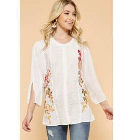 Andree by Unit Shirt-Button Down, Lace Detail & Embroidered Design