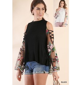 Umgee USA Top-Floral Emb Angel Sleeve, Crossed Open Shoulder