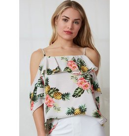 Fantastic Fawn Top-Open Shoulder Flounce & Pineapples