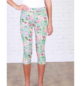 Boutique Only Leggings-Capri Misty Mint Floral, (L/XL)