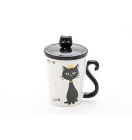 Mug w/Lid & Spoon-Black Cat with Crown