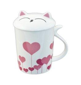 Mug w/Lid-Heart Cat