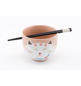 "Cat Rice Bowl 5"" w/Chopsticks-Pink"