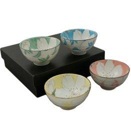 Rice Bowls (4pc Set)-Color w/White Flowers