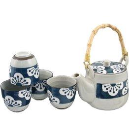 Tea Set-Porcelain 'Blue w/White Flowers' (6pc)
