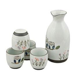 Sake Set-Porcelain 'Owls' (5pc)