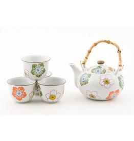 Tea Set-Porcelain 'White w/Flowers'' (6pc)