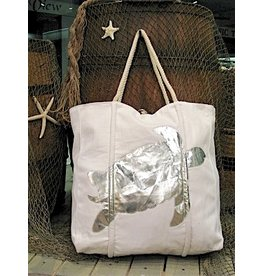 Tote w/Rope Handles-Sea Turtle-Silver