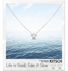 Kitsch Kitsch-Turtle, Life Is Good Silver Set of Necklace & Earrings