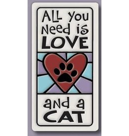Spooner Creek Ceramic Magnet - 'All You Need is LOVE & a CAT'