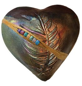 J Davis Studio Innerspirit Rattle-Raku Heart Dancing Feather