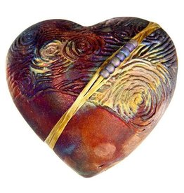 J Davis Studio Innerspirit Rattle-Raku Heart Starry Night