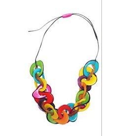 Pampeana Art Glass Necklace, Tagua Nuts-Multi Ring (MULTI)