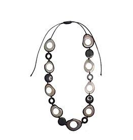 Pampeana Art Glass Necklace, Tagua Nuts-Long Circle (GREY)