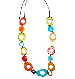 Pampeana Art Glass Necklace, Tagua Nuts-Long Circle (MULTI)