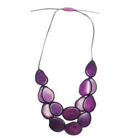 Pampeana Art Glass Necklace, Tagua Nuts-Double Strand (PURPLE)