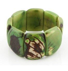 Pampeana Art Glass Bracelet, Tagua Nuts-Square (GREEN)