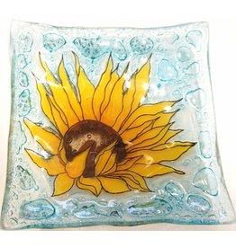 Pampeana Art Glass Plate Square (Med)-Sunflower