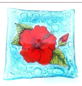 Pampeana Art Glass Plate Square (Med)-Hibiscus Flower