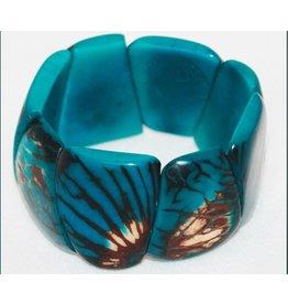 Pampeana Art Glass Bracelet, Tagua Nuts-Triangle (AQUA)