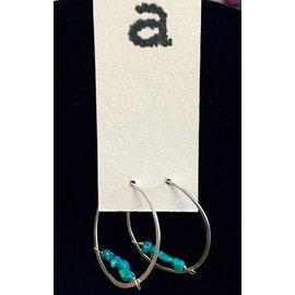 Amy Vander Els Turquoise Sterling Silver Hoop Earrings