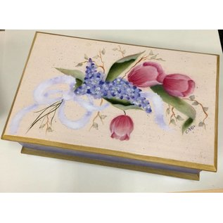 Bell Originals Tulip and Lilac Painted Jewelery Box