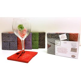 Fine Wine Designs Fabric Wine Glass Coasters 4-pack