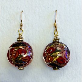 Joan Major Designs Red/Black Round Coin Earrings