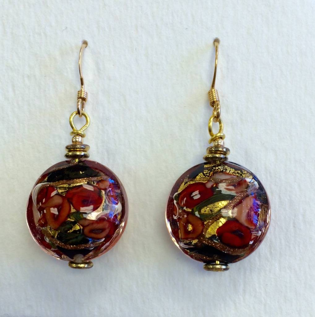 Joan Major Designs Red/Black Round Coin Earrings - Marketplace New ...
