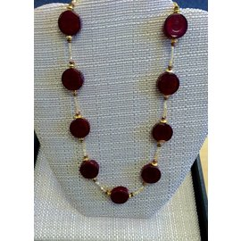Joan Major Designs Red Flat Coin with Gold Necklace