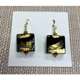 Joan Major Designs Gold/Black Square Earrings