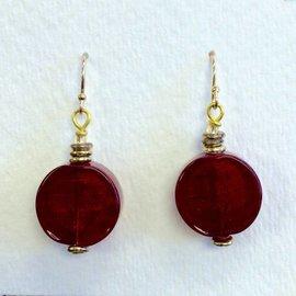 Joan Major Designs Red Flat Coin Earrings