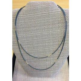 "Joan Major Designs 38"" Grey and Silver Wrap Necklace"