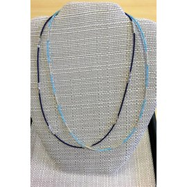 "Joan Major Designs 19"" Colored/Silver Seed Bead Necklaces"