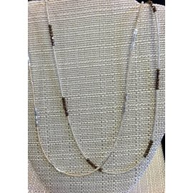"Joan Major Designs 36"" Silver Seed Bead Necklace"