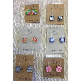 Kind Finds Square Glass Tile Dangle Earrings