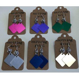 Knitting Metal Square Earrings