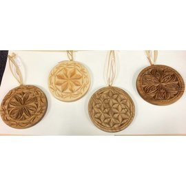 Molly & Myles Wood Carved Disk Ornament