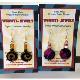 Morse Hill Studios Paper and Bead Small Dangle Earrings