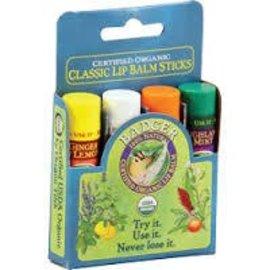 W.S. Badger Organic Classic Lip Balm Sticks 4 pack - Blue