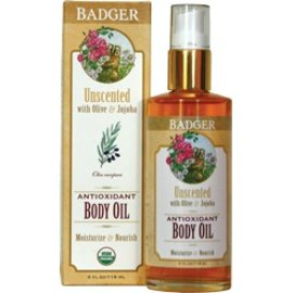 W.S. Badger Body Oil - Unscented with Sunflower & Jojoba - 4 oz