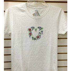 Bell Originals White Painted Flower Heart T-shirt