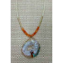 Oh Look Darling Cream, orange beads with geode